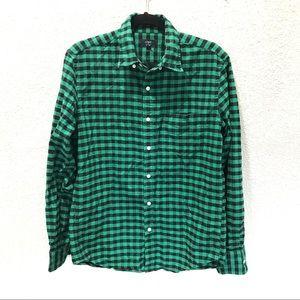 J. Crew Oxford Slim Plaid Button Down Shirt